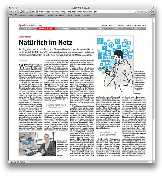 """Artikel von Silvia Besner """"Natürlich im Netz"""" / Sparkassenzeitung Dezember 2014"""